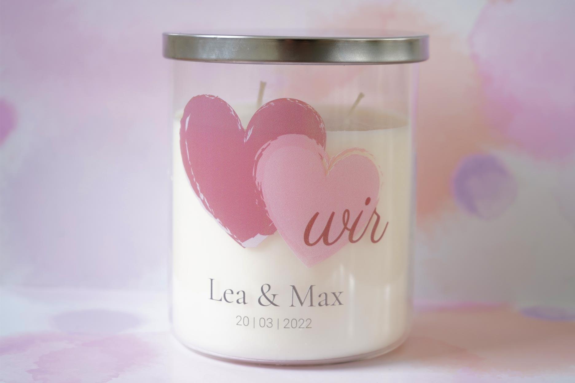 Personalisierte Kerze im Glas Hochzeit Red Hearts