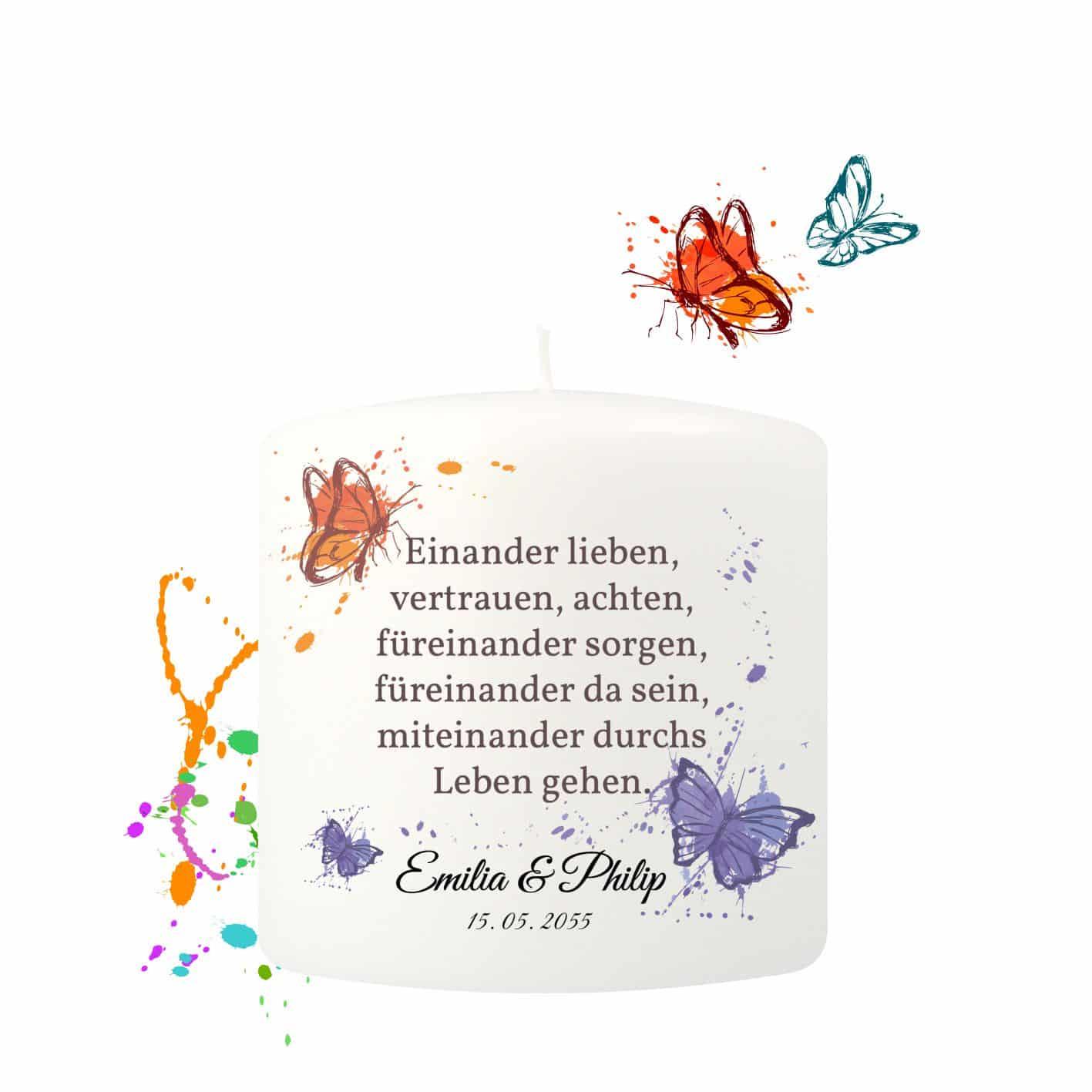 Kleine Hochzeitskerze individualisierbar verziert mit Schmetterlingen
