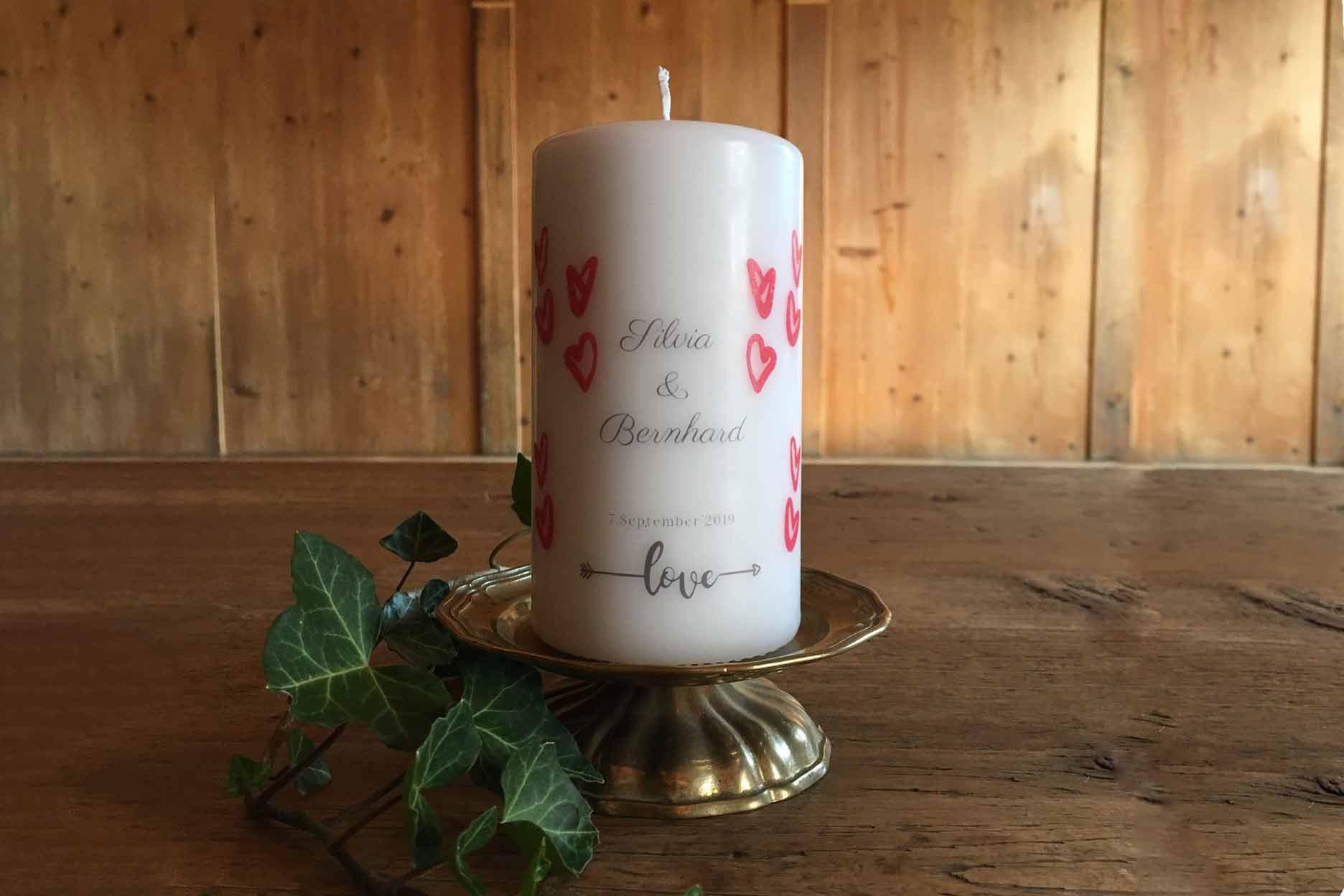 Personalisierte Kerze Motiv Hochzeit