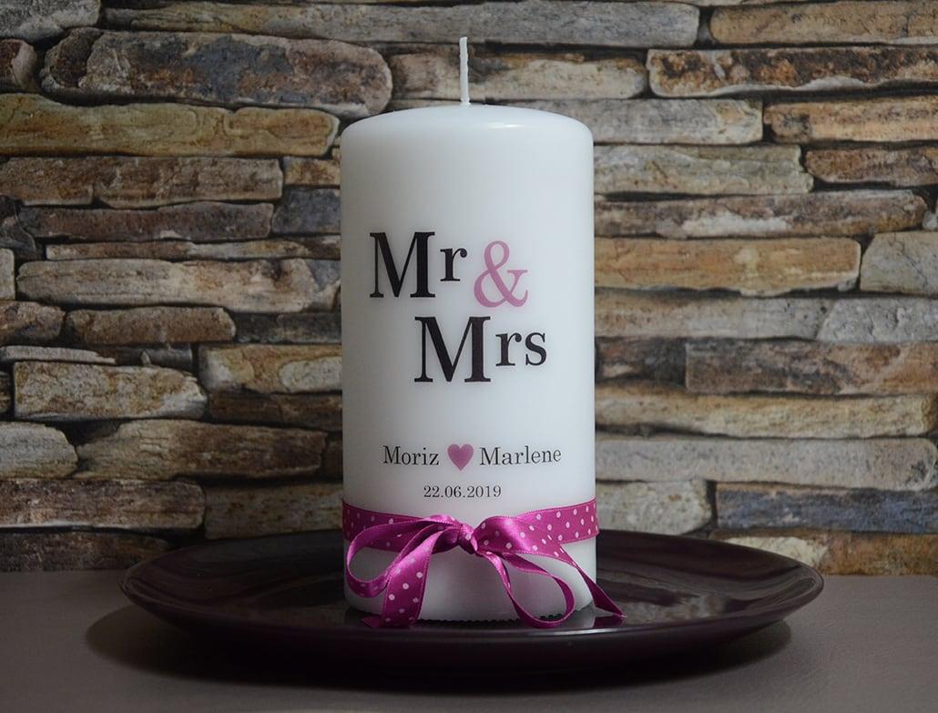 Hochzeitskerze Mr. und Mrs.