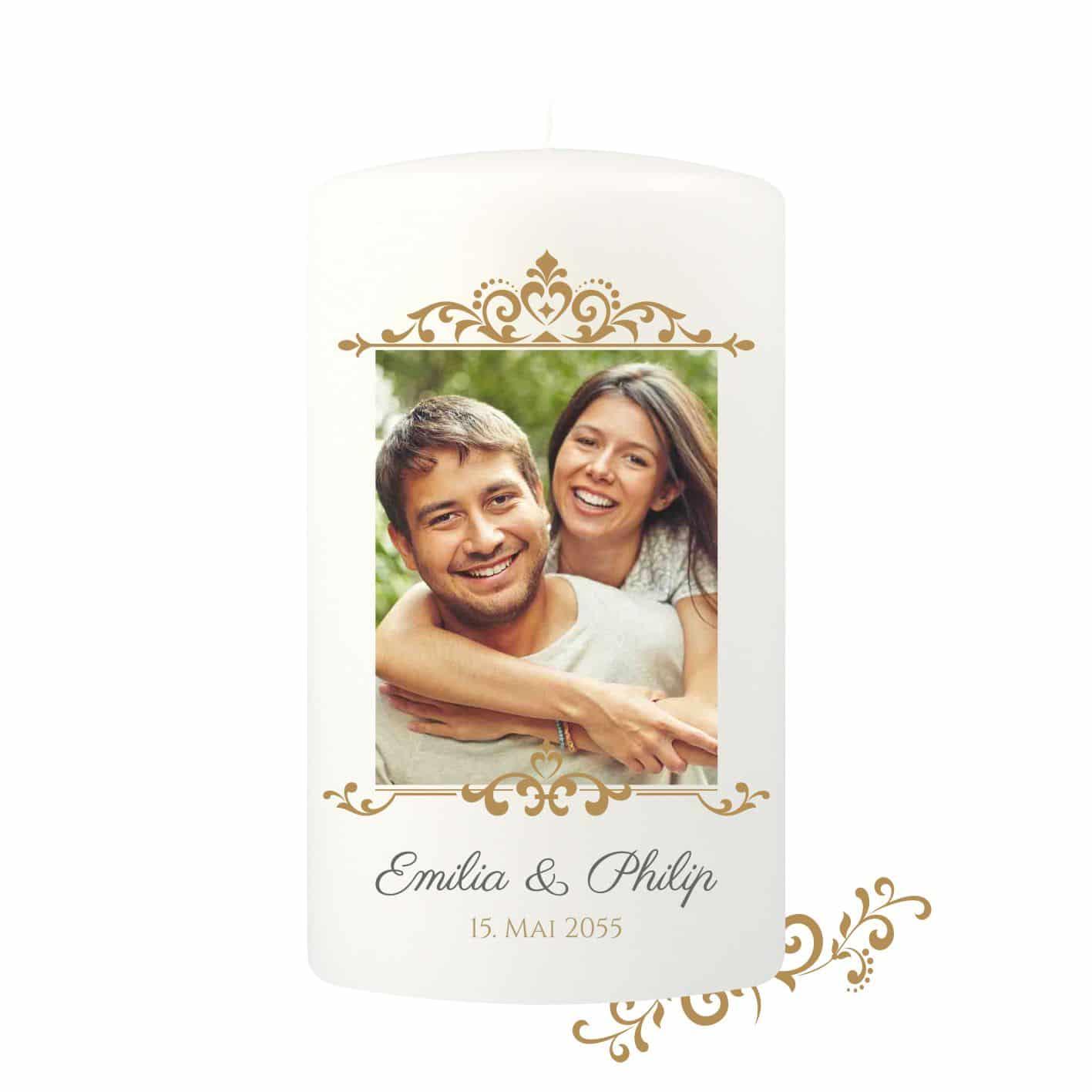 Große Hochzeitskerze individualisierbar mit edler Goldumrandung