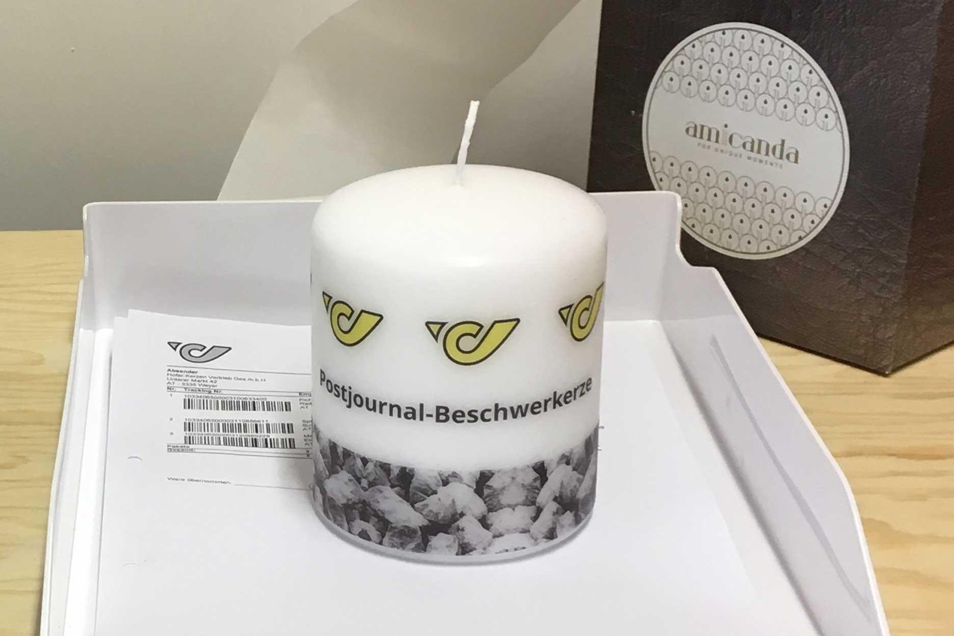 Personalisierter Briefbeschwerer Kerze