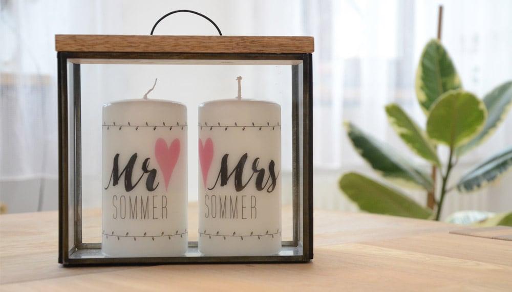 Personalisierte Hochzeitskerze Motiv  Mr und Mrs