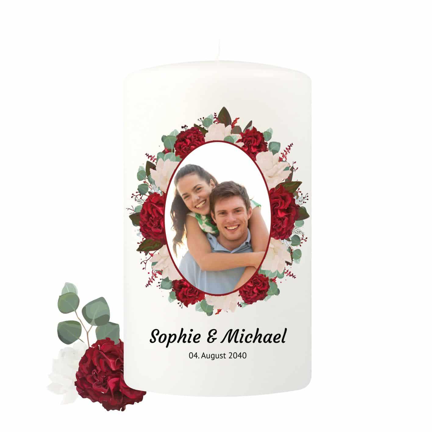 Große Hochzeitskerze personalisierbar verziert mit roten Rosen