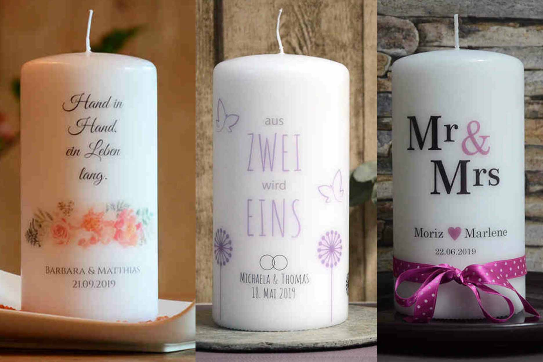 Personalisierte Hochzeitskerze Stumpen 3 Stilrichtungen