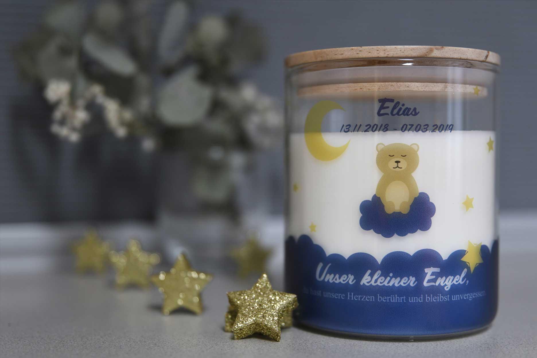 Personalisierte Kerze im Glas Motiv Sternenkinder Teddy blau