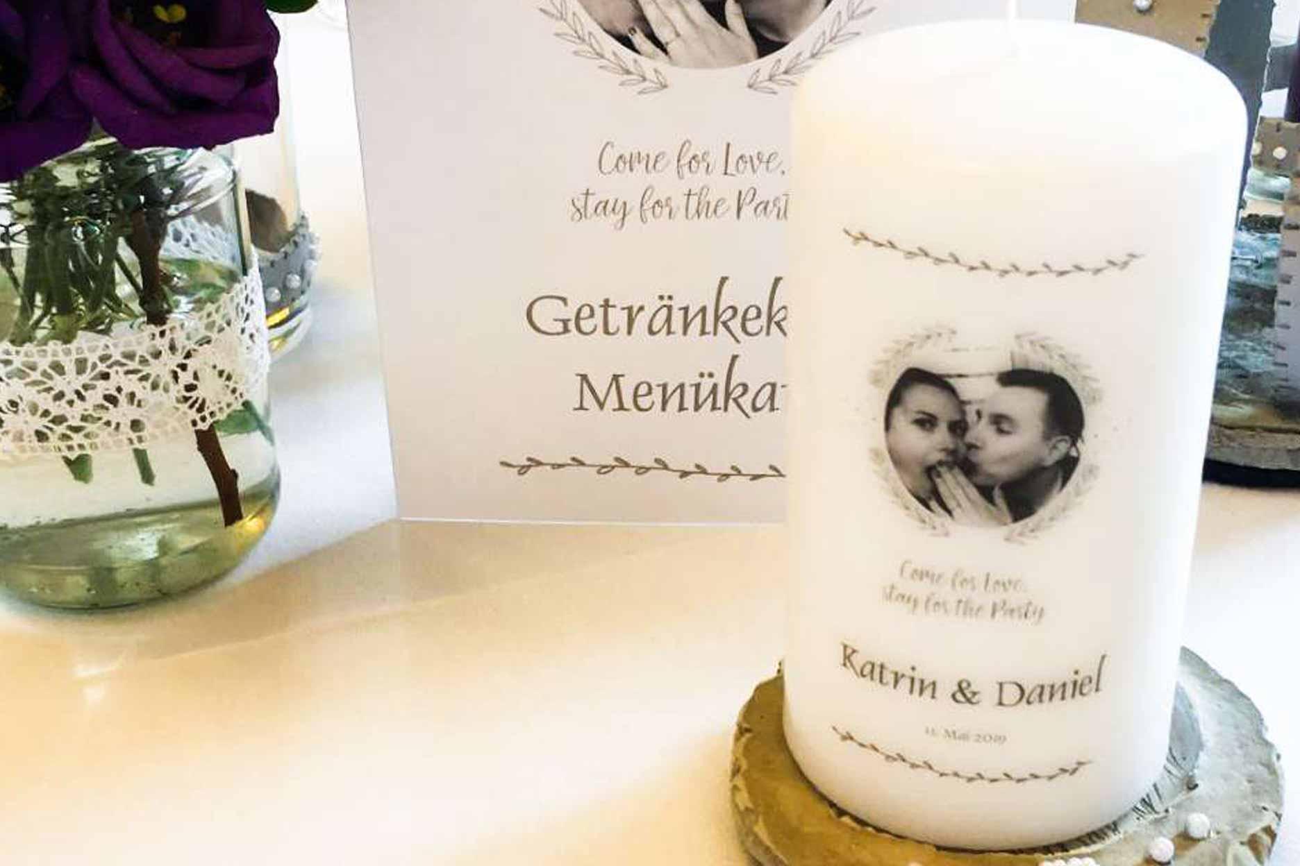 Personalisierte Hochzeitskerze Motiv schlicht