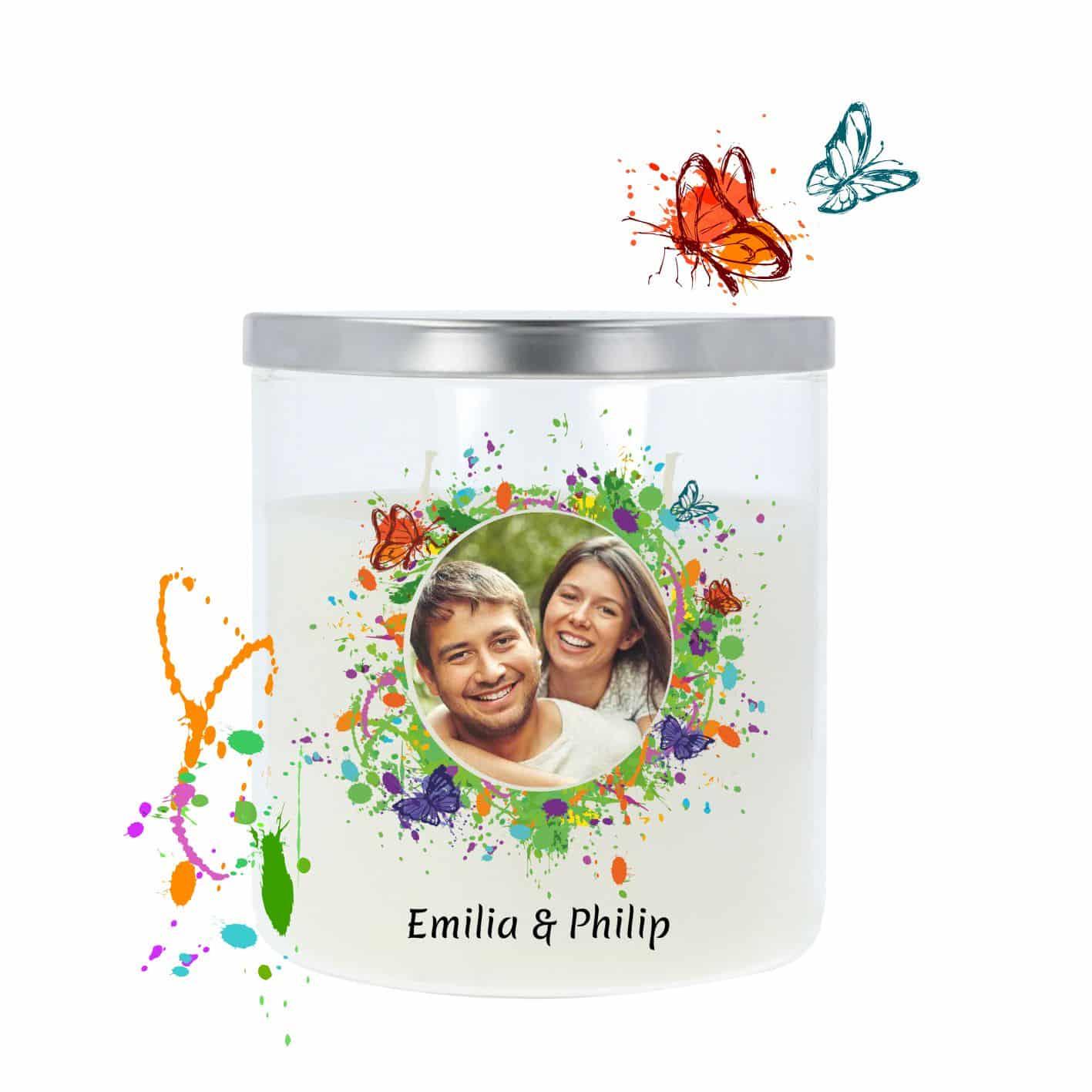 Hochzeitskerze im Glas mit edlem Metalldeckel dekoriert mit Schmetterlingen