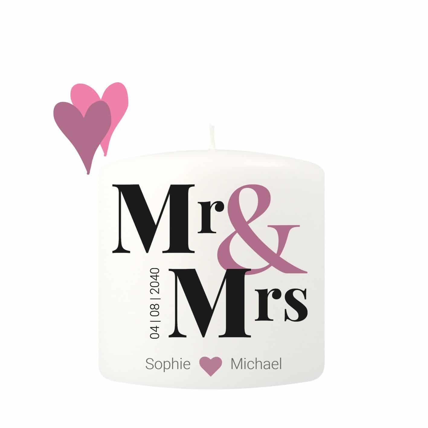 Kleine Hochzeitskerze individualisierbar mit einem Mr & Mrs Schriftzug