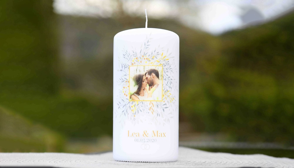 Personalisierte Hochzeitskerze Motiv individuell