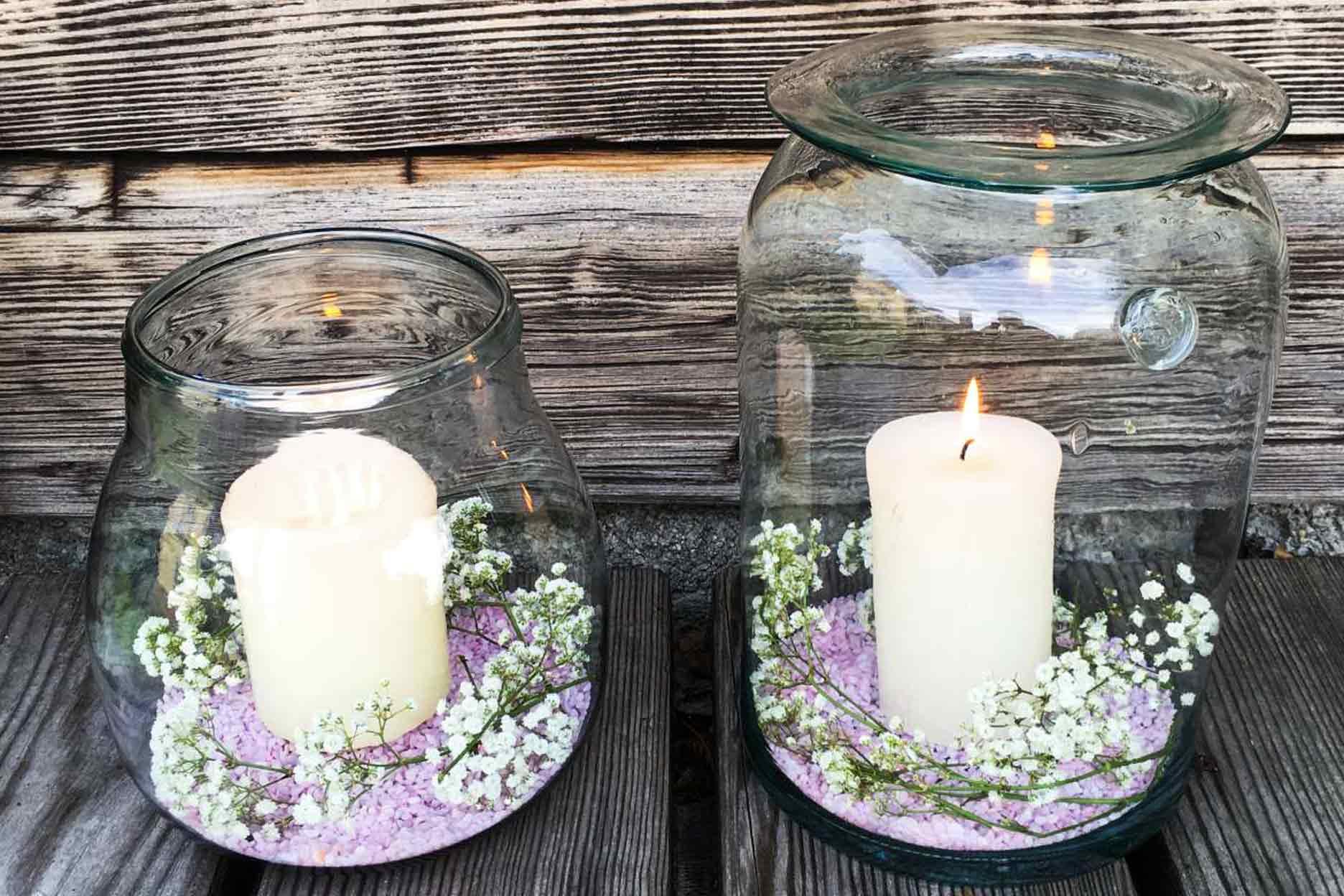Dekoration Kerze im Glas Hochzeit