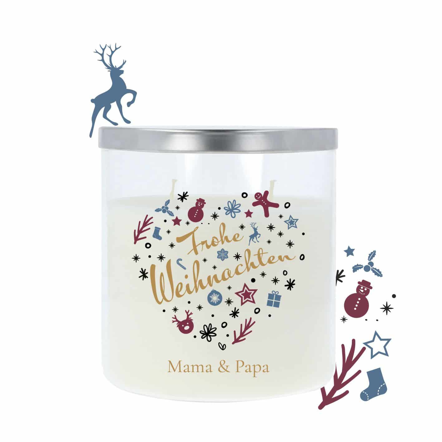 Geschenkkerze im Glas mit Deckel Metalloptik, Frohe Weihnachten 1