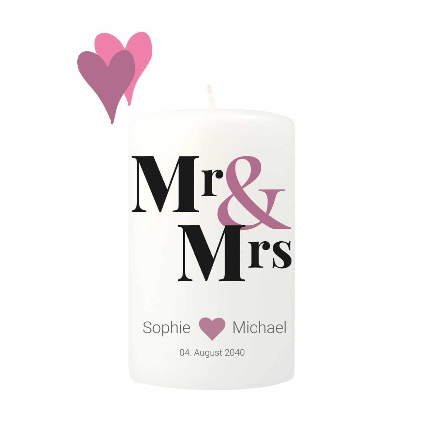 Tischkerze zum Selbstgestalten beschriftet mit den Worten Mr & Mrs