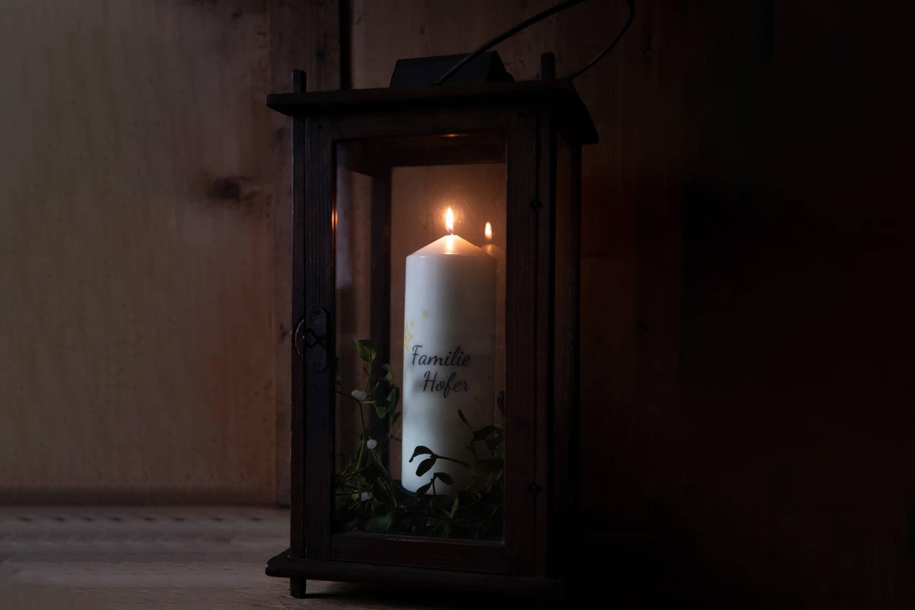 Personalisierte Heilige Nacht Kerze Motiv Familie Hofer