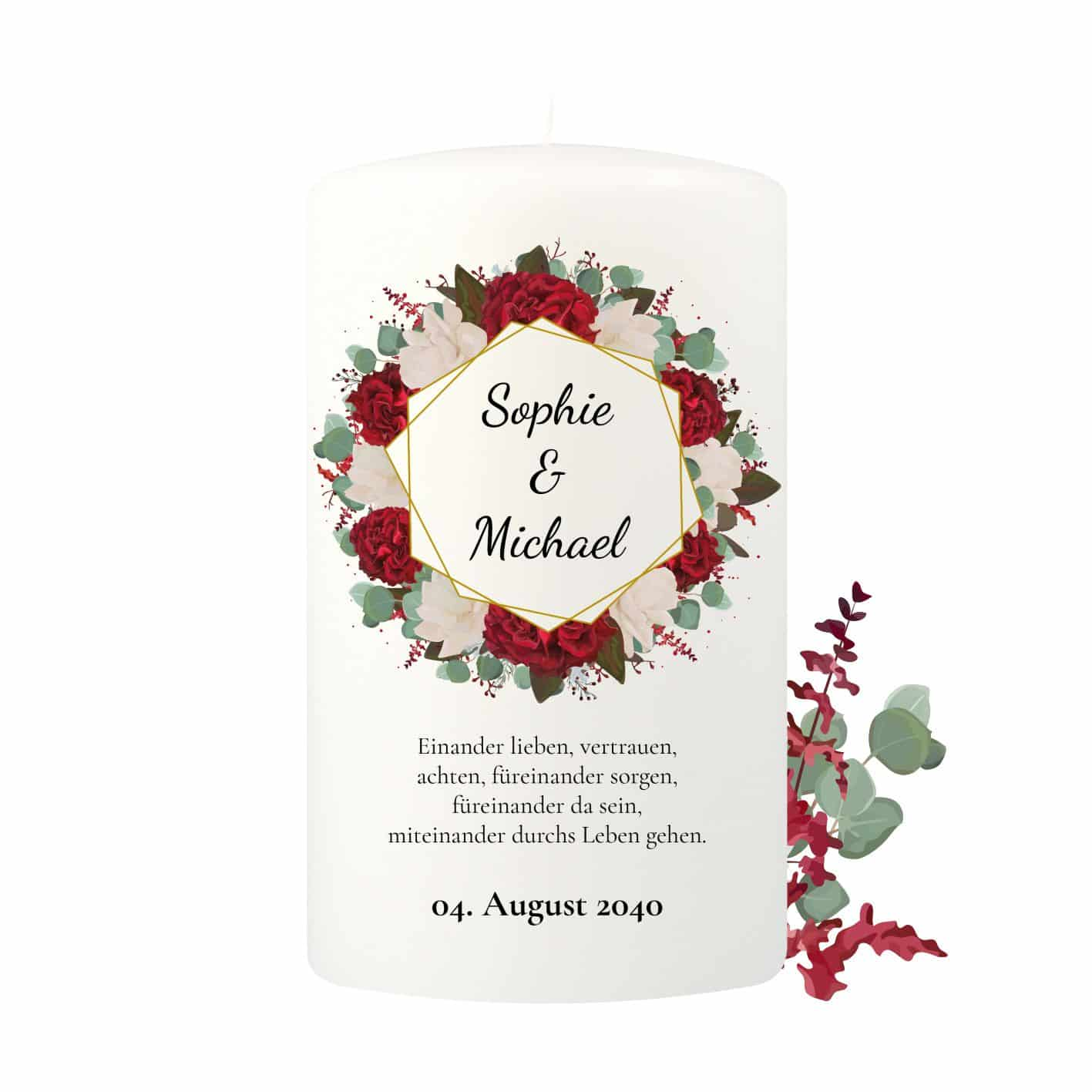 Große Hochzeitskerze individualisierbar mit vielen Rosen