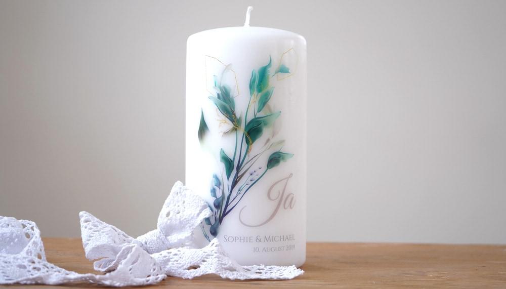 Personalisierte Kerze Stumpen Motiv Nature Art