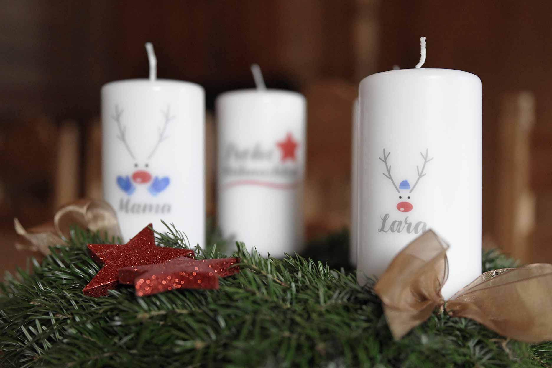 Personalisierte Kerzen Advent Motiv Rentiere