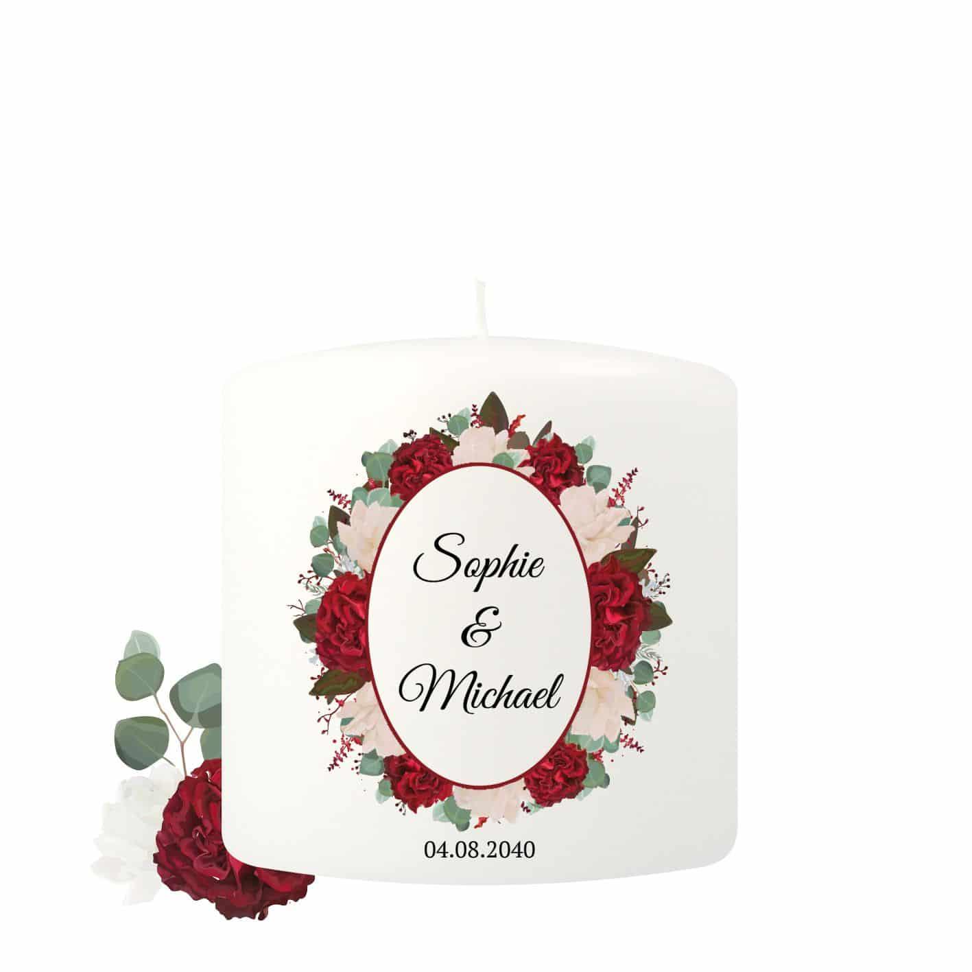 Kleine Hochzeitskerze individualisierbar dekoriert mit vielen Rosen