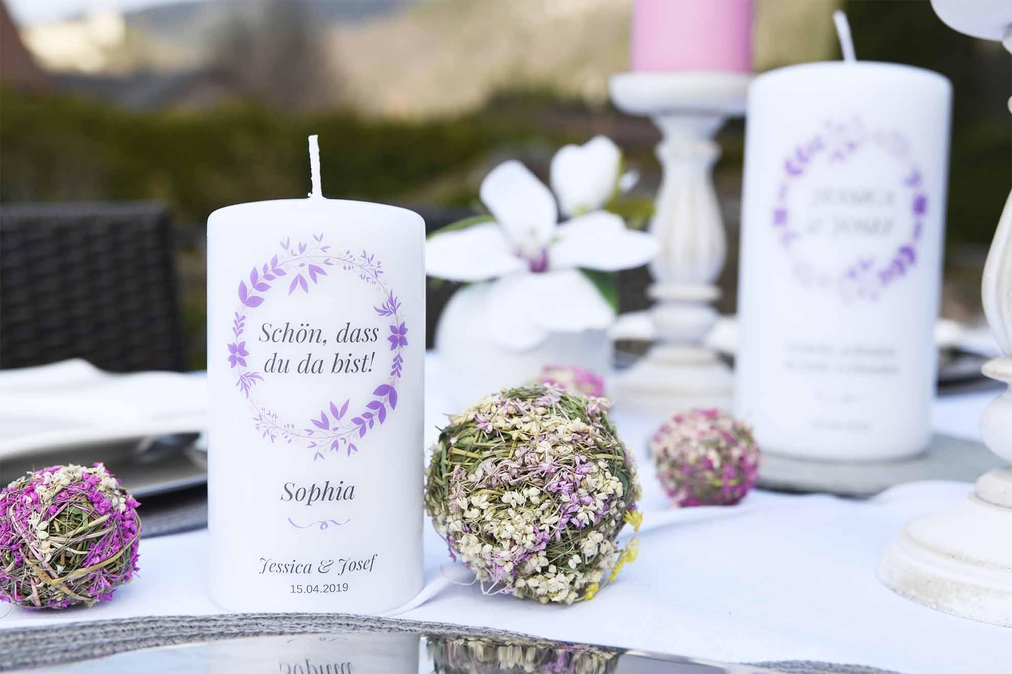 Originelles Gastgeschenk Hochzeit personalisierte Kerze