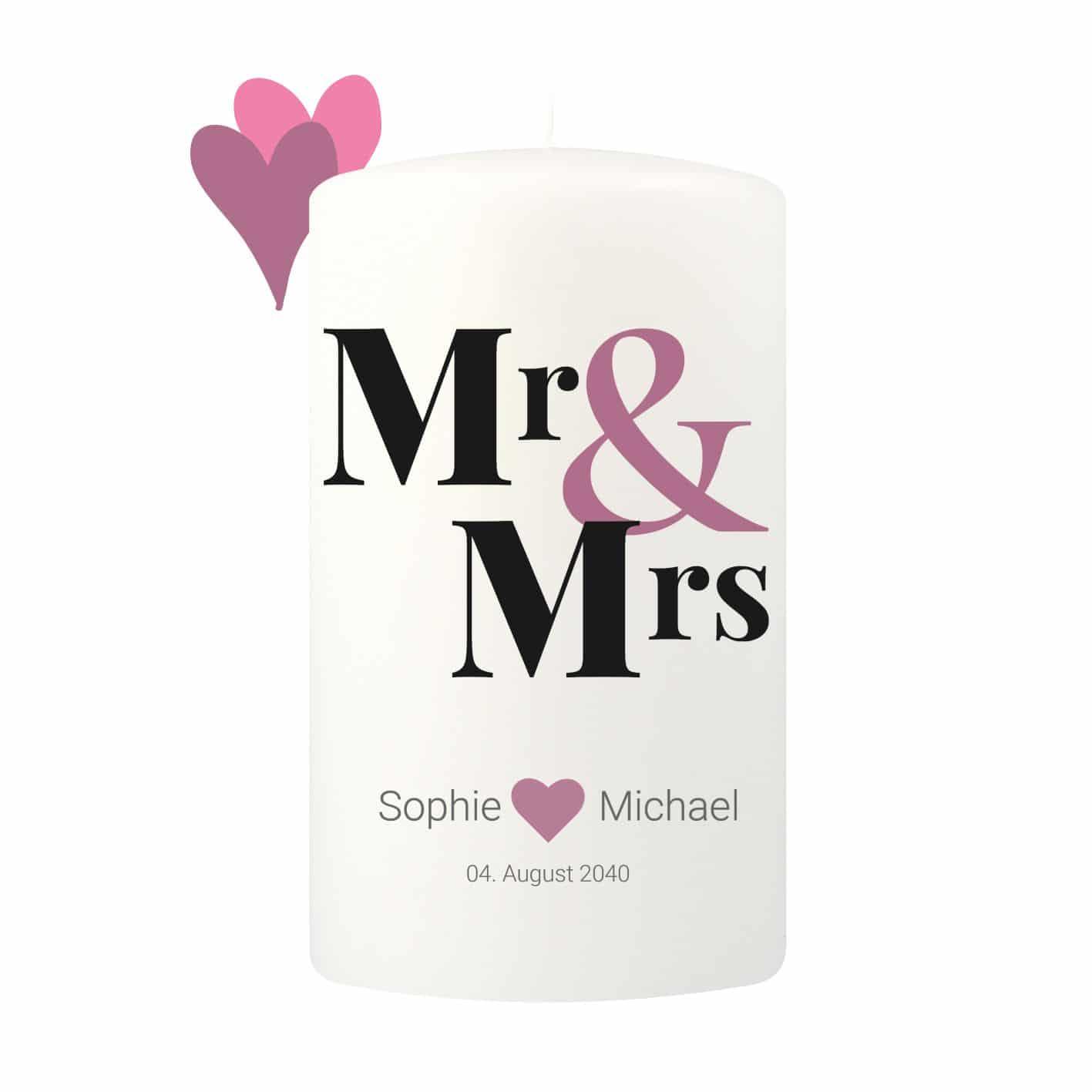 Große moderne Hochzeitskerze personalisierbar mit einem romantischen Mr & Mrs Motiv